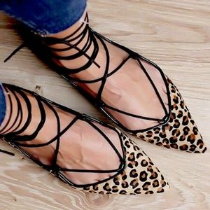 Zara Brown Leopard Pointed Toe Lace Up Flats